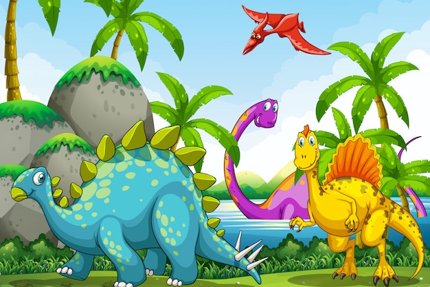Dinosaurs living in the jungle Free Vector