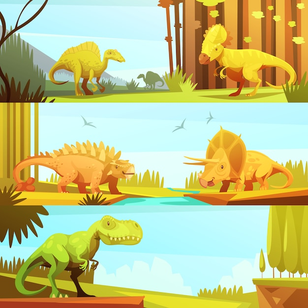 Dinosaurs in prehistoric environment banners set in retro cartoon style Free Vector