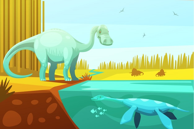 Dinosaurs and prehistoric turtle from animated cartoon animals for kids Free Vector