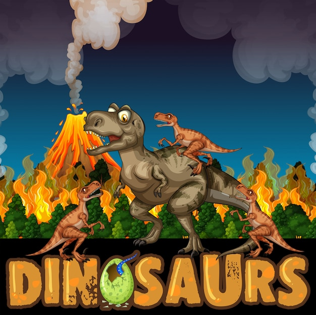 Dinosaurs run away from volcanoes  and wildfire Free Vector