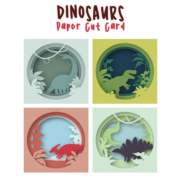 Dinosaurs set in cartoon paper cut art colorful cute baby illustration for a children's room Premium Vector
