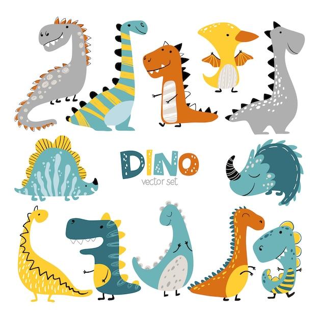 恐竜は漫画のスカンジナビアスタイルで設定します。カラフルなかわいい赤ちゃんイラストは子供部屋に最適です Premiumベクター