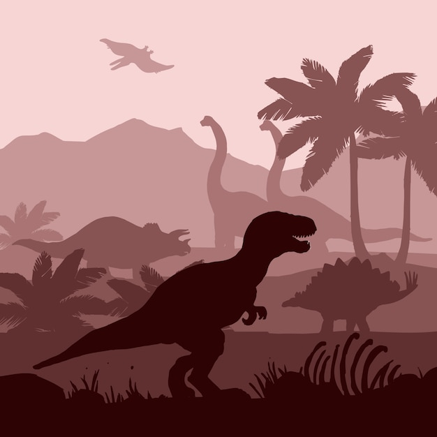 Dinosaurs silhouettes layers background  banner  illustration. Free Vector