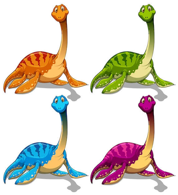 Dinosaurs with long neck Free Vector
