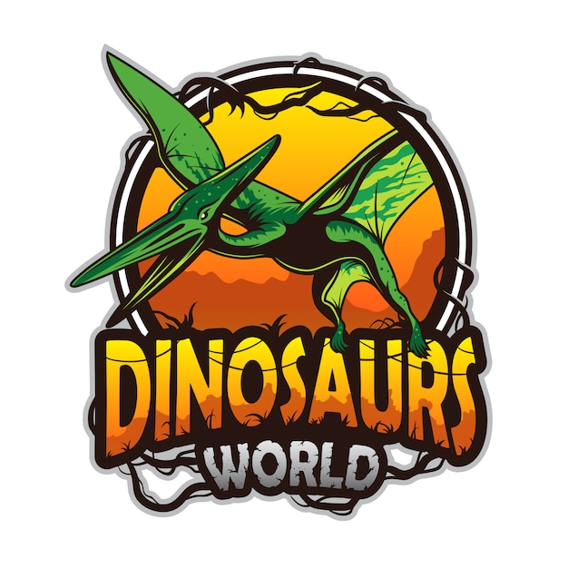 Dinosaurs world emblem with pterodactyl. colored isolated on white background Premium Vector