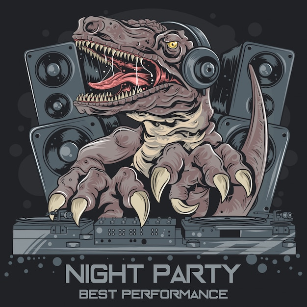 Dinosour trex dj music party Premiumベクター