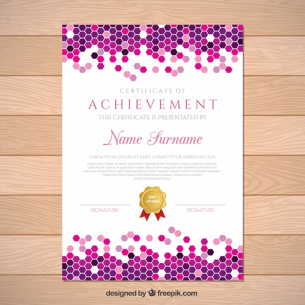 Diploma achievement background with hexagons Vector | Free Download