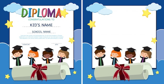 diploma and border template with happy kids in graduation