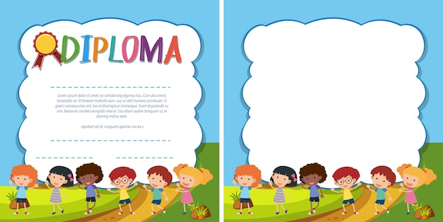 diploma and border template with happy kids in park vector
