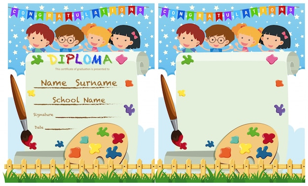 diploma and card template with kids and paintbrush vector premium