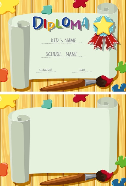 diploma and card template with paintbrush and color splash vector