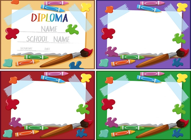 diploma and frame template with crayons and paintbrush vector