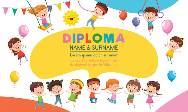 Diploma certificate template design for children education Premium Vector