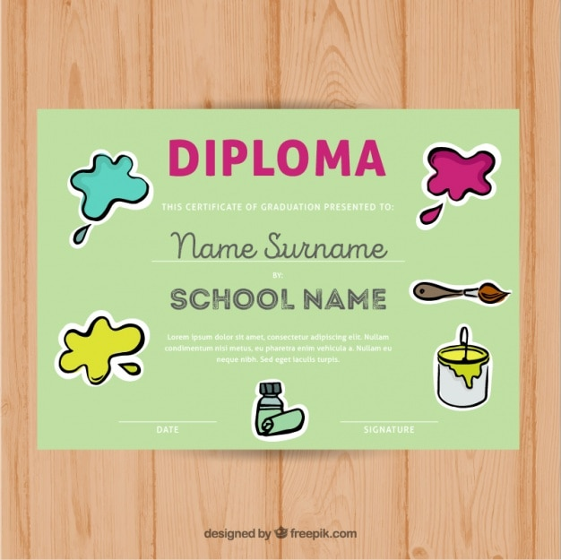 Diploma for kids with paint stains Vector Free Download
