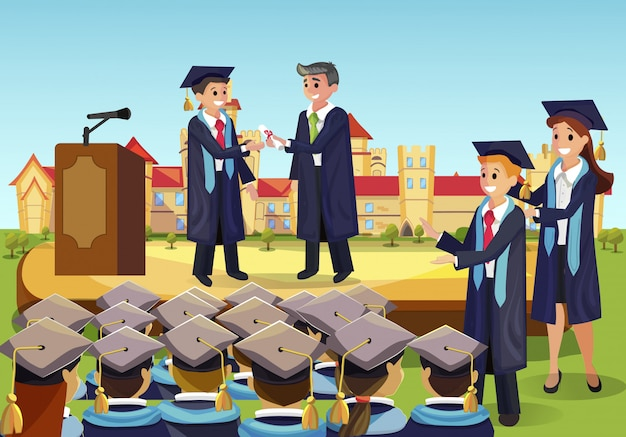 Diploma institute in front group fellow students Premium Vector