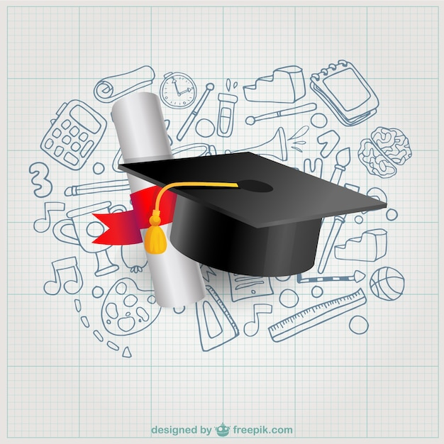 Diploma and mortarboard Free Vector