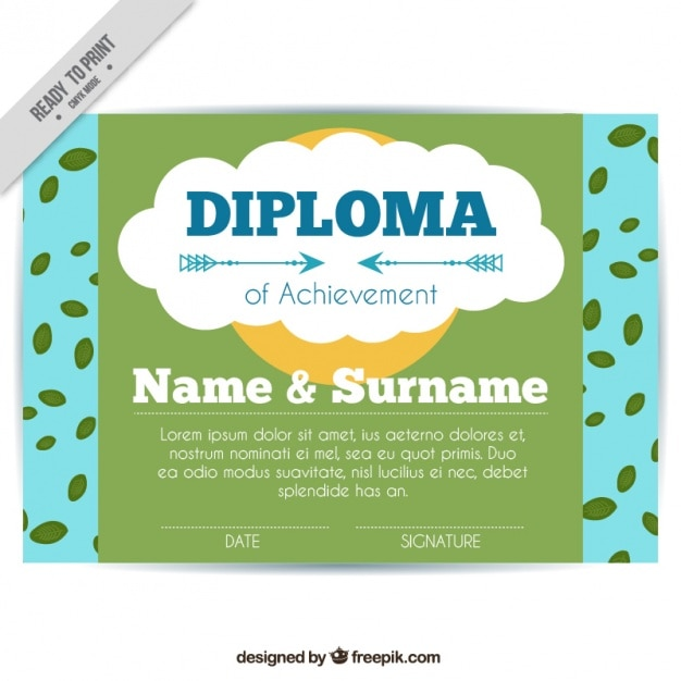 Diploma of children with leaves
