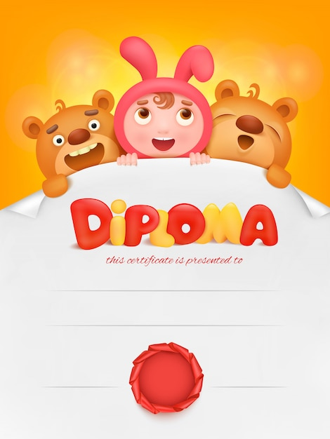 Diploma template certificate with pupil girl and teddy bear. Premium Vector