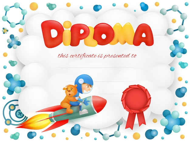 Diploma template certificate with spaceman boy and teddy bear. Premium Vector