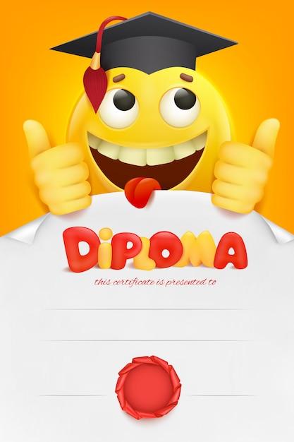Diploma template certificate with yellow emoji smiley cartoon character. Premium Vector