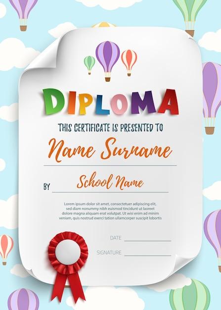 子供の証明書の背景の卒業証書のテンプレートです。図。 Premiumベクター