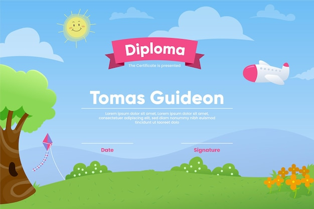 Diploma template for kids concept Free Vector