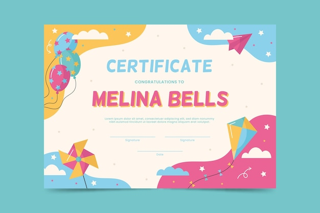 Diploma template for kids with balloons and kite Premium Vector