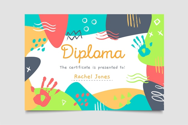 Diploma template for kids Free Vector