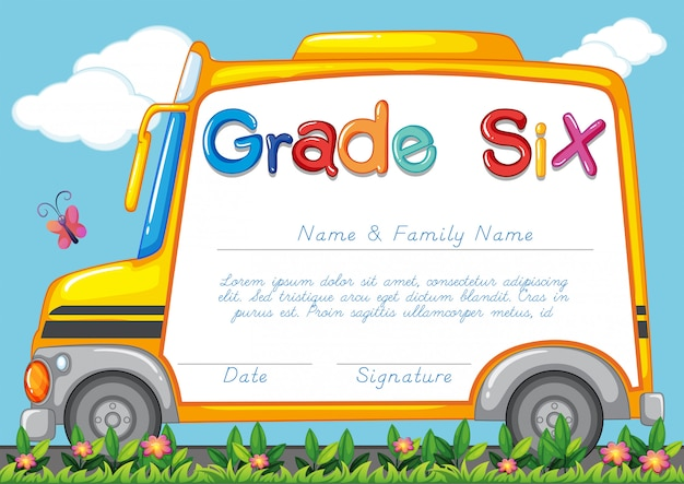 Diploma template for students grade six Free Vector