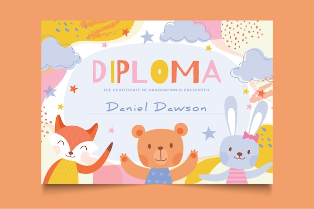 Diploma template with cute animals for kids Free Vector