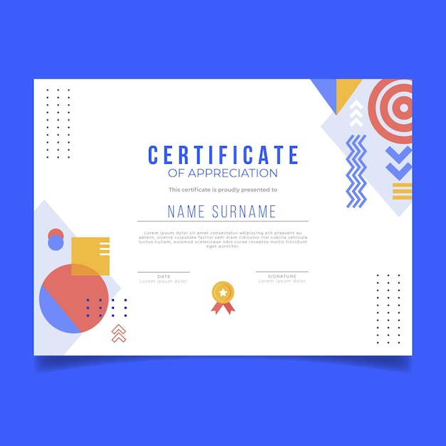 Diploma template with shapes Free Vector