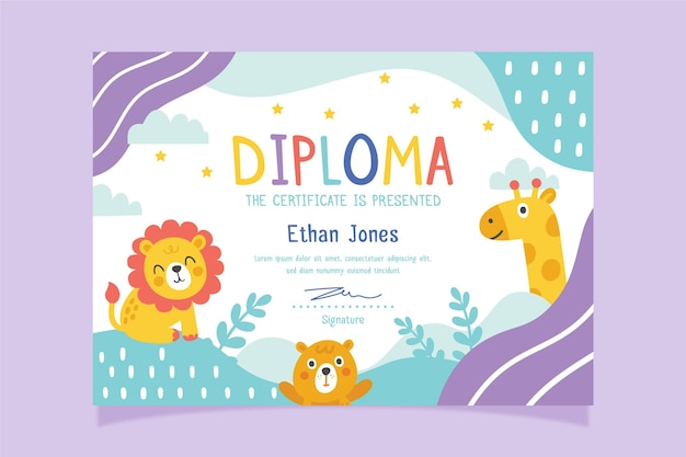 Diploma template with theme for child Premium Vector