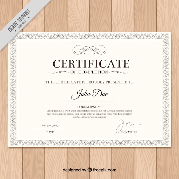 Diploma with classic frame Free Vector