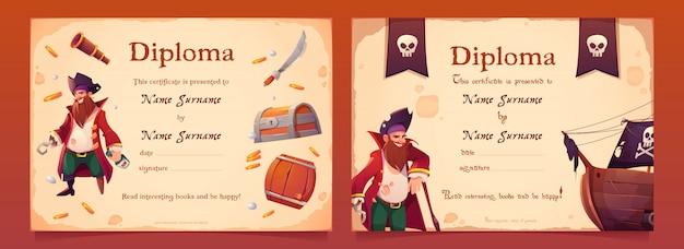 Diploma with pirate theme for kids Free Vector