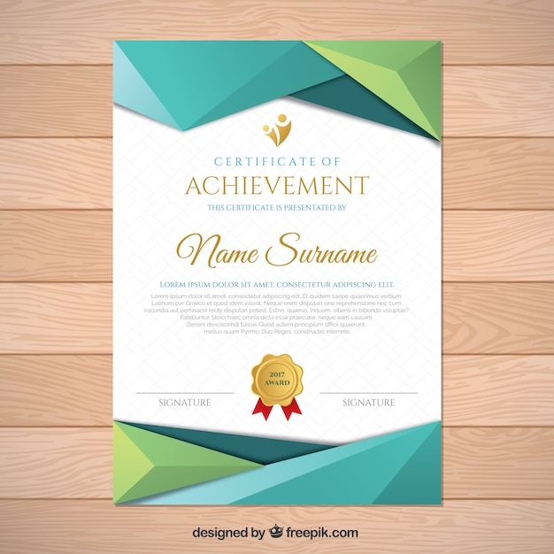 Diploma with polygonal shapes Free Vector