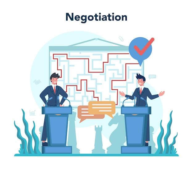 外交官の職業。国際関係と政府のアイデア。 Premiumベクター