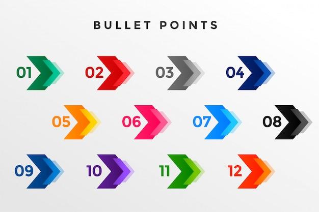 Направление номер пули указывает от одного до двенадцати Бесплатные векторы
