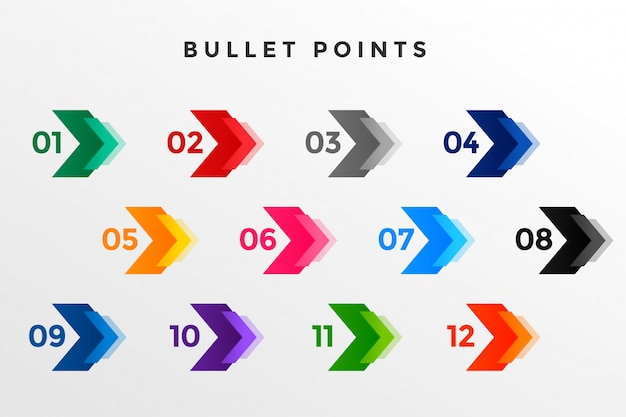 Direction number bullet points from one to twelve Free Vector