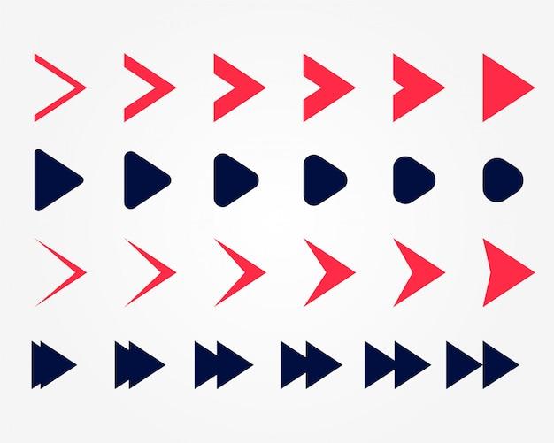 두 가지 색상으로 설정된 방향 화살표 포인터 무료 벡터