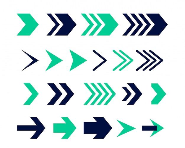 方向矢印記号またはアイコンセットのデザイン 無料ベクター