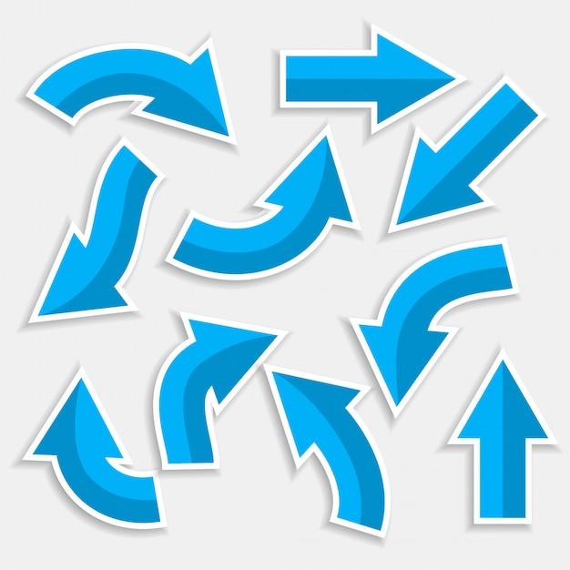 파란색 스타일로 설정된 방향 화살표 무료 벡터