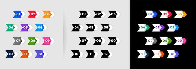 Направленные номера точек пули от одного до двенадцати Бесплатные векторы