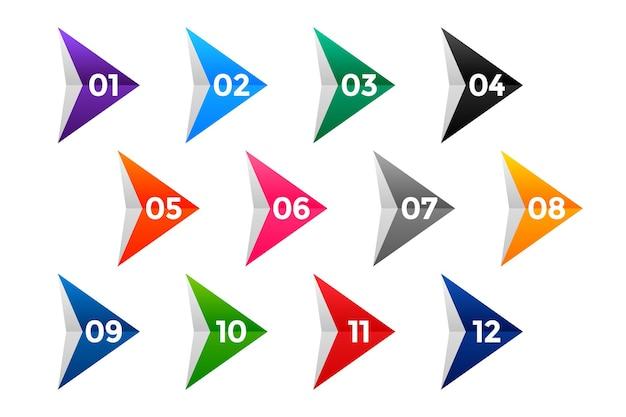 Маркировка с номерами направлений от одного до двенадцати Бесплатные векторы