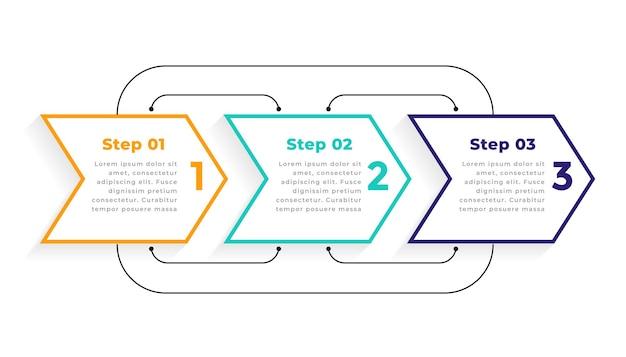 方向性のある3つのステップのモダンなインフォグラフィックテンプレート 無料ベクター