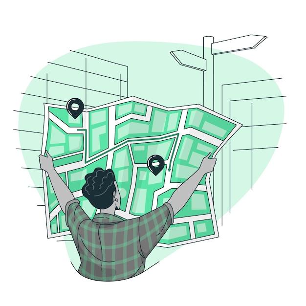 Illustrazione del concetto di indicazioni stradali Vettore gratuito