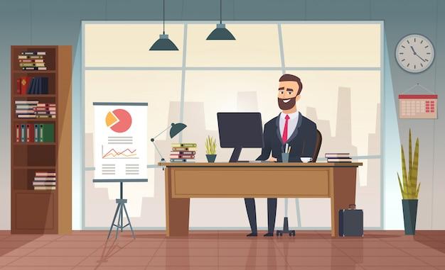 Директор офиса. интерьерный бизнесмен сидит за столом в офисе мультфильм картинка Premium векторы