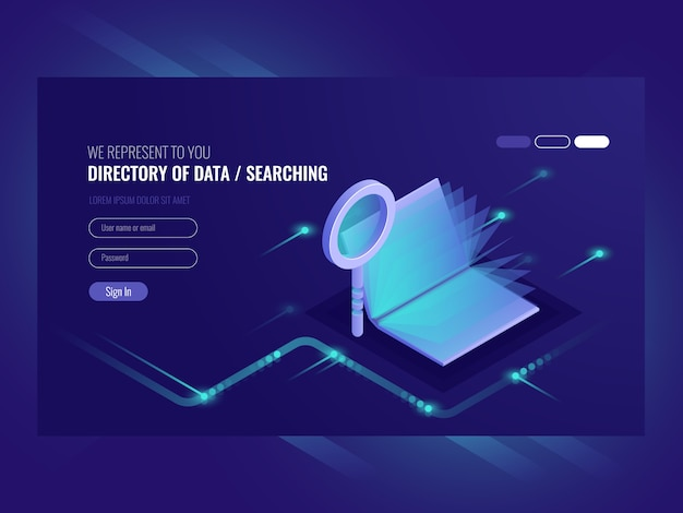 Directory of data, information serching result,\ book with magnifying glass