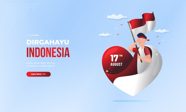 Dirgahayu indonesia greeting for indonesian national day with love symbol illustration Premium Vector