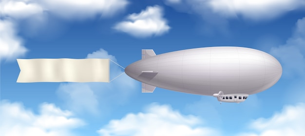 Dirigible airship realistic composition with banner and clouds in the sky Free Vector