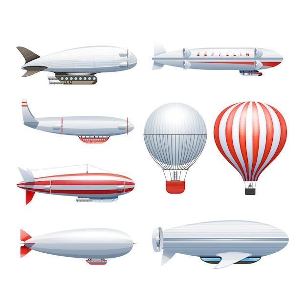 Dirigible and hot air balloons airships Free Vector